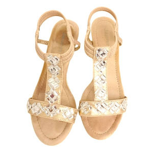 "SIZE 6 GOLD SANDAL WEDGES BLING  JEWELED  2'"" HEEL"